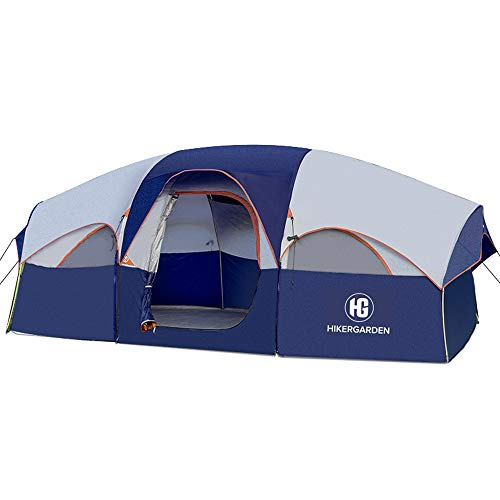 HIKERGARDEN Tent 8 Person Camping Tents, Waterproof Windproof Family Tent, 5 Large Mesh Windows, Double Layer, Divided Curtain for Separated Room,...