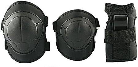 Beschermingset: polsbeschermer, elleboogbeschermer, kniebeschermers voor kinderen, adolescenten H110 Black Nils