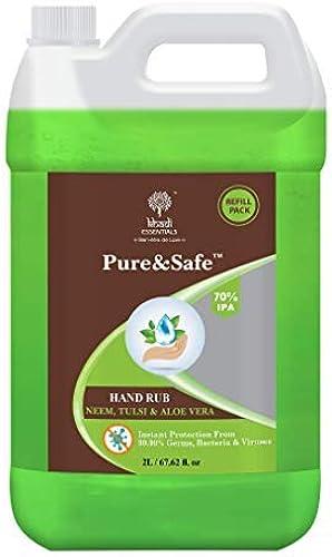 Khadi Essentials Pure Safe Sanitizer 2 Litre Instant Hand Sanitizer Liquid 70 Ethyl Alcohol Neem Tulsi Aloe Vera Extracts with Glycerine 2ltr