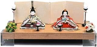 雛人形 幸一光 ひな人形 コンパクト 平飾り 親王飾り 山櫻桃 (ゆすら) 目入頭 屏風C 正絹 衣裳着 アクリル足付飾台 h313-koi-116c