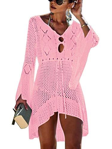 ORANDESIGNE Damen Boho Weben Einzigartig Bikini Cover Up Sommerkleid Gestrickte Strandkleid Rosa Einheitsgröße (für DE 34-DE 42)