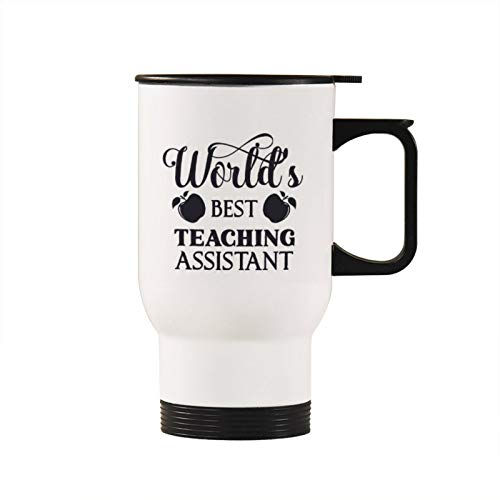 None-brands Worlds-Best-Teaching-Assistant Vacuum Insulated Travel Mugs Dad Mom Teacher Outdoor Thermos Insulation Water Bottle Portable Spill Proof Coffee Mugs Tumbler Cups with Handle 14 oz