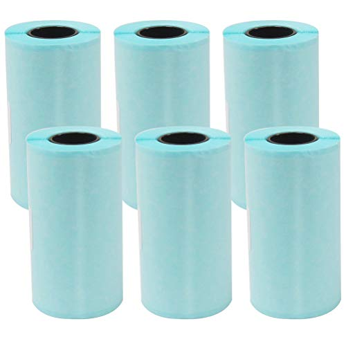 kuou 6Pcs Sticker Thermal Paper,57 X 30mm Direct Thermal Paper Self-Adhesive Machine Paper Roll for Portable Pocket Thermal Printer Mini Printer