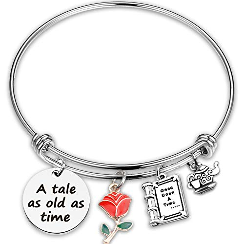 Cawsen A Tale As Old As Time Beauty And The Beast Bracelet Belle Rose Inspired Bangle Jewelry Princess Bracelet Belle Rose Flower Jewelry (bracelet)
