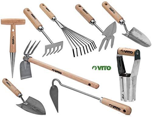VITO Garden - Großes Gartenwerkzeug Set Holz, 9-teilig - Hochwertig und traditionell handgeschmiedete Garten-Kleingeräte - Gartengeräte Set (Set1)