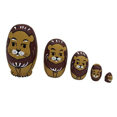 Gazechimp Handgemachte Hölzerne Russische Verschachtelungs Puppen Geschenk Traditionelle Russische Puppen Tiere Matroschka - Löwe, 5 Stück