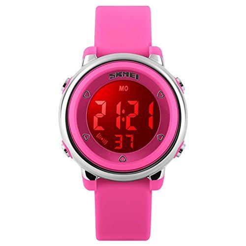 Kinder Digital Sport Uhren-Jungen Mädchen Wasserdicht Armbanduhr Sportuhr mit Wecker Datum Chronograph 7 LED Hintergrundbeleuchtung für Little Jugendliche Jungen - Rosa