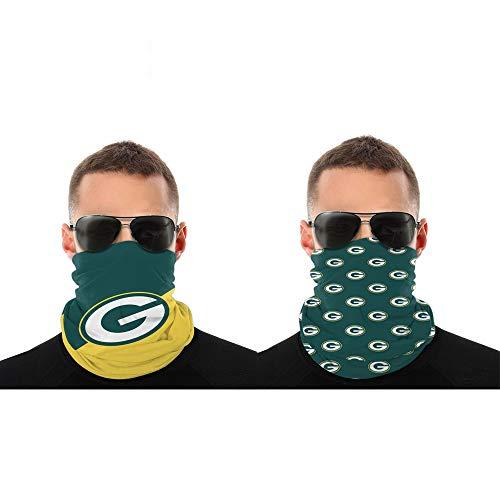 2 Pcs Face Shield Bandanas Neck Gaiter Face Scarf Green Bay Packers 3D Print American Football Team