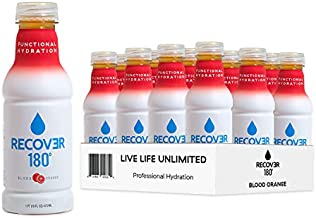 Recover 180 Hydration Drink for Functional Performance, Sports and Everyday Beverage, 3X More Electrolytes, 16 Ounce (12 Pack, Blood Orange)