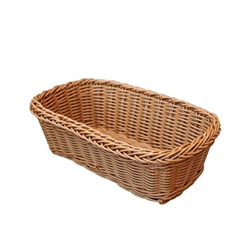 CVHOMEDECO. Rettangolo imitazione rattan tessuto portaposate organizer portaoggetti cesto di frutta cesto di uova cesto da portata fatto a mano per tavolo da cucina, armadio, dispensa. Marrone.