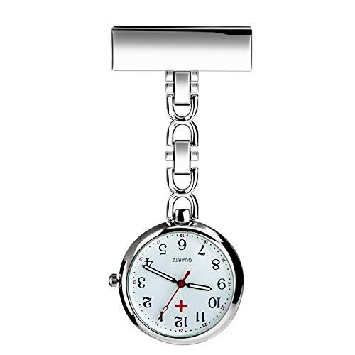 BestFire Enfermera solapa pin reloj con clip colgante médico reloj de bolsillo Hombres mujeres cuarzo colgante médico relojes de bolsillo enfermeras reloj, Plata