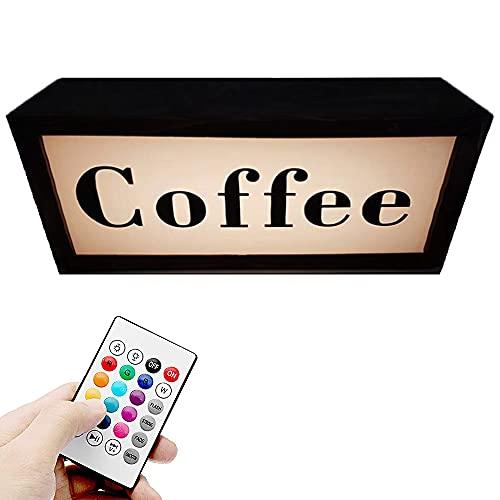 LEDイルミネーションコーヒーサイン、壁掛け空中照明テーブルランプ、リモコン付き、複数のダイナミックモード、グレアなし、電池式、スタジオ、録音ラジオ、劇場、部屋、カフェ用,A