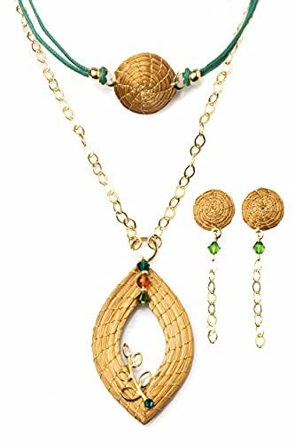 Conjunto de Collar Dorado Hoja Abierta en Oro Vegetal con Gargantilla y Pendientes con Swarovski