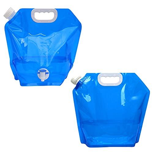 Bidón de Agua Plegable, 10L Portador de Agua para Acampar Sin BPA Bolsa de Agua Potable para Exteriores con Grifo de Agua para Senderismo Picnic 2 Piezas
