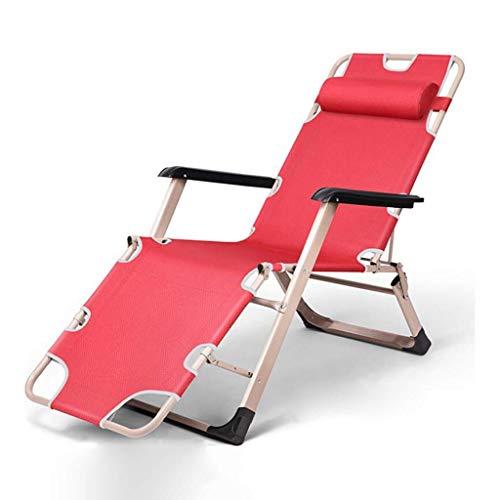 YLCJ Opvouwbare campingstoel, nul zwaartekracht opklapbare stoelen Ligstoelen voor kamperen in de tuin op het strand Rood