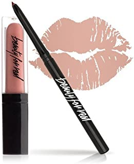 Beauty For Real Plumping Lip Kit, Nudist Perfect Nude Lip, Universal Lip Liner Pencil and Sheer Lip Gloss Set, Gift, 2 Piece Kit, Cruelty Free, 0.12 oz + 0.15 fl oz