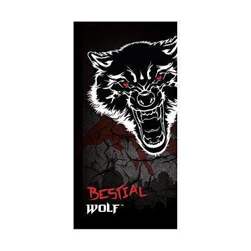 Textil Tarragó Bestial Wolf Toalla de Playa, Algodón, Negro, 30x40x3 cm