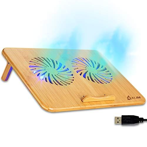 """KLIM Bamboo - Laptop Kühlungspad - Anpassbare Geschwindigkeit - Kühlende Unterlage mit Lüftern und Bambus Struktur, für Laptops zwischen 10"""" und 15,6"""" - Extra USB Port [ Neue 2021 Version ]"""