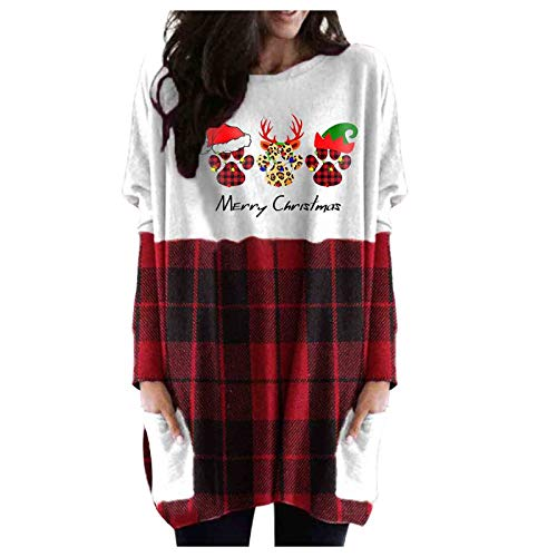 Btruely Women's Christmas Sweater Dress - Reindeer Ugly Christmas Sweatshirt Pullover Shirt Dresses with Pocket