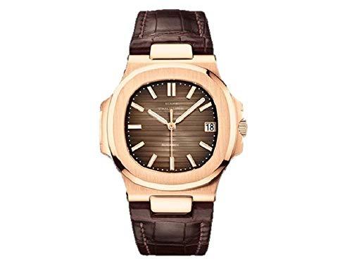 Sportlich Elegante Herren Automatik Uhr Modell Nautiker, entspiegeltes Glas, Leder Armband, 2813 Uhrwerk, braun/Bronze