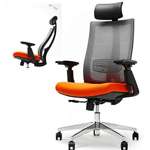 YUXIwang Silla de oficina ergonómica silla de oficina, 90-135° inclinación 3D barandilla Ajustar el apoyo lumbar/reposacabezas Silla de trabajo eficiente giratoria - Estudio/juegos