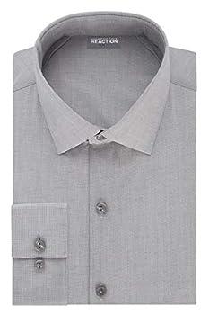 Kenneth Cole REACTION Men s Dress Shirt Slim Fit Technicole Stretch Solid Grey Frost 15  Neck 32 -33  Sleeve  Medium