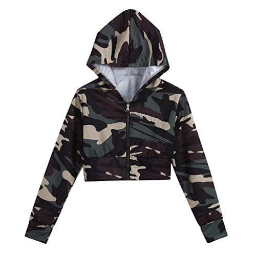 TWIFER Damen Camouflage Crop Hoodie Pullover Print Langarm Shirt mit Kapuze Kurzen Bluse