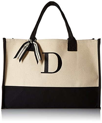 Mud Pie Initial Canvas Tote Bags (D)