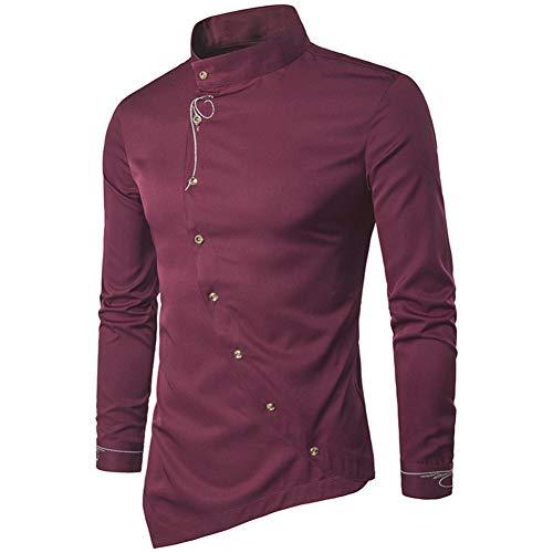MUMU-001 heren casual onregelmatige shirts blouse solide kleuren staande kraag silm fit lange mouwen blouse tops borduurwerk bovenkleding heren shirts