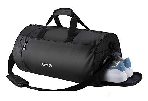 AGPTEK Bolsa Deporte y Viaje para Mujer y Hombre con Compartimento de Zapatos y Bolsillo Impermeable,Bolsa de Playa de Multibolsos,Multiuso como Mochila Plegable para Gimnasio,Nadar,Vacaciones,Negro