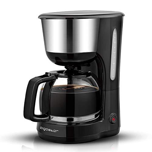 Aigostar Chocolate 30KYJ – Enchufe británico de 3 pines, Máquina de café, 1000W cafetera de filtro color negro