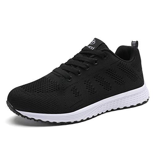 Mujer Entrenador Zapatos Gimnasio Deportes atléticos Zapatillas de Deporte Malla Informal Zapatos para Caminar Encaje Plano Negro EU 38