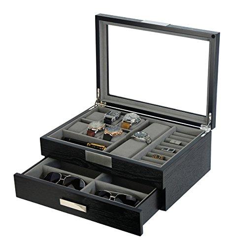Modern Black wood Cufflink Case Ring and Jewelry Box