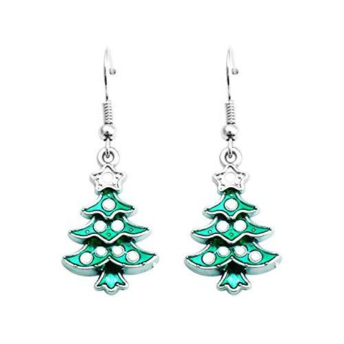 Chnrong Pendientes colgantes de árbol de Navidad para mujeres y niñas.