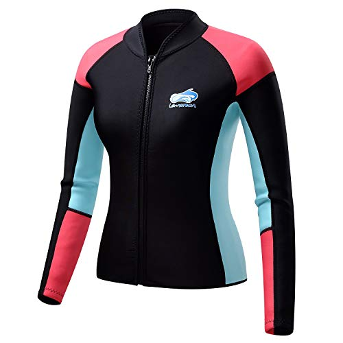 Lemorecn Women's 1.5mm Wetsuits Jacket Long Sleeve Neoprene Wetsuits Top (2047black4)