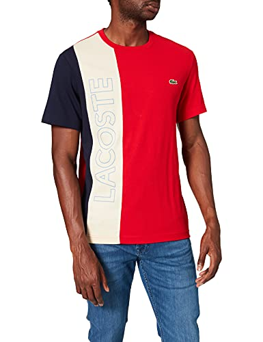 Lacoste TH0113 T-Shirt, Rouge/Naturel Clair-Marin, M Homme