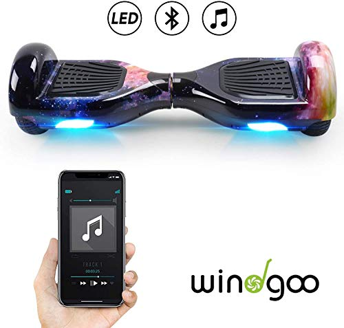 """Windgoo Hoverboard 6.5"""" Balance Board Patinete Eléctrico Scooter Talla LED, Scooter eléctrico Self-Balance (Purple-Bluetooth)"""