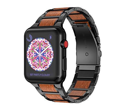 NotoCity Cinturino Ibrido Compatibile con Apple Watch 38mm 40mm Sandalo e Cinturino in Acciaio Inossidabile per Apple Watch Serie 4/3/2/1