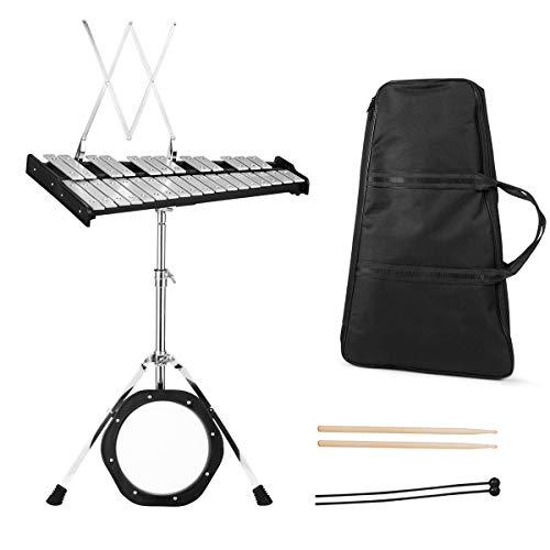 COSTWAY Glockenspiel Set 30 Noten Xylophon Handpercussion mit Schlägel, Drumsticks, höhenverstellbarer Ständer, Tragetasche, Percussion Geeignet für Kinder und Erwachsene
