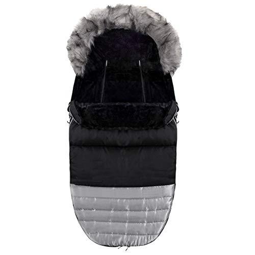 Sringos - Saco de abrigo de invierno (90 x 45 cm), color negro y plateado con capucha, saco de trineo universal, trineo con trineo y trineo, correas de seguridad de seis puntos