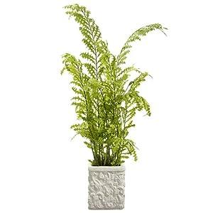 "Silk Flower Arrangements 4'11"" Tall Silk Fern Plant w/Baroque Pot -Green"