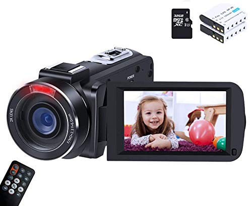 Video Camera ORDRO HDV-Z63 Ultra HD 1080P 30FPS 30MP Camera Recorder with Infrared Night Vision for YouTube Digital Cameras with 32G TF Card Remote Control and 2 Batteries