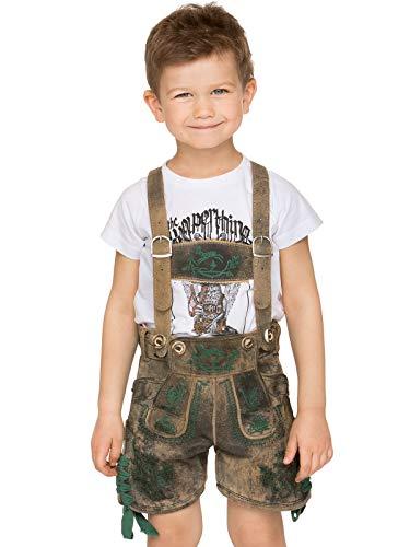 Stockerpoint Trachten Kinder Lederhose mit H-Träger kurz Charly oldtanne, Gr. 98-104