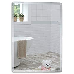 SIMPLE RECTANGULAR DESIGN: Modern, Versatile Mirror is perfect as an Elegant, eye catching feature in your Bathroom, Powder room or Ensuite, Hangs Both Ways, Portrait and Landscape HIGH QUALITY GLASS: Premium 5mm Silver Backed Glass for a perfect ref...