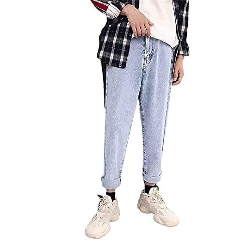 Hombres Jeans All-Match Loose Pencil Recto Tobillo-Longitud Lavado Denim Pantalones, 7003-Light Blue, Medium