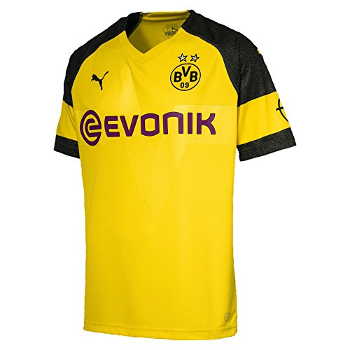 PUMA BVB Home Replica J with Evonik Logo Maillot de Football pour Homme, Cyber Yellow, L
