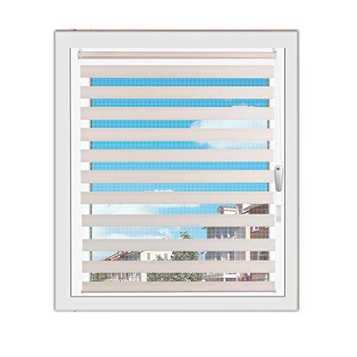 OBdeco Doppelrollo Duo Rollo Klemmfix ohne Bohren B70cm x H150cm(Stoffbreite 66 cm) Beige für Fenster lichtdurchlässig und verdunkelnd