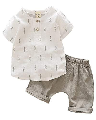 Baby Kleidung Jungen, T-Shirt Leinen Tops + Leinenhose Set Grau 90