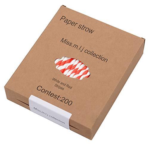 Miss.m.l.j collection 200 Stück Strohhalme rot weiß gestreift mit Aufbewahrungskiste Papierstrohhalme Biologisch Abbaubare Papier Trinkhalme Einweg-Strohhalme