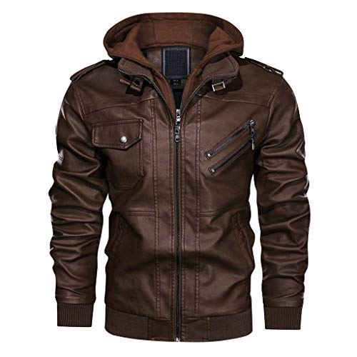 CRYSULLY Men's Long Sleeve Zipper Closure Moto Biker Faux Leather Bomber Jacket Brown